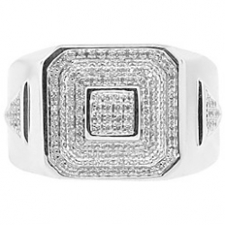 10K White Gold 0.50 ct Diamond Mens Square Step Cut Ring