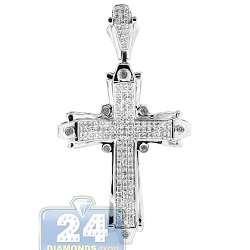 14K White Gold 0.74 ct Diamond Religious Cross Mens Pendant