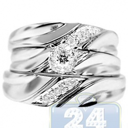 14K White Gold 0.24 ct Diamond Three Piece His Hers Bridal Rings Set