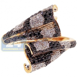 14K Yellow Gold 0.91 ct Diamond Bypass Wrap Womens Ring