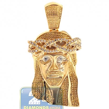 Mens Diamond Jesus Christ Head Pendant Matte 14K Yellow Gold