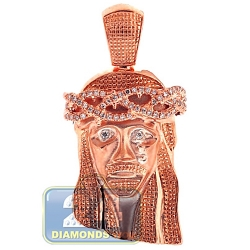 14K Rose Gold 0.31 ct Diamond Jesus Christ Head Mens Pendant