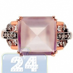 14K Rose Gold 6.35 ct Pink Quartz Diamond Womens Cocktail Ring