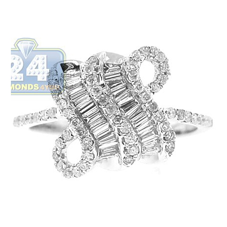 14K White Gold 0.70 ct Mixed Baguette Diamond Antique Womens Ring