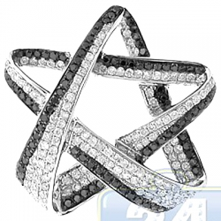 14K White Gold 1.10 ct Black Diamond Star Womens Pendant