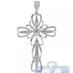 14K White Gold 0.81 ct Diamond Openwork Cross Pendant