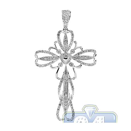 Mens Diamond Openwork Vintage Cross Pendant 14K White Gold .81ct