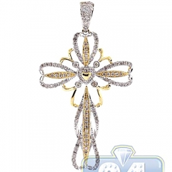14K Yellow Gold 0.82 ct Diamond Openwork Cross Pendant