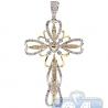 Mens Diamond Open Vintage Cross Pendant 14K Yellow Gold 0.82ct