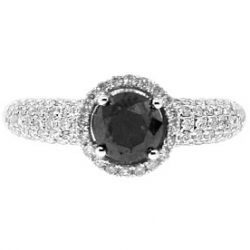 14K White Gold 2.04 ct Black Diamond Halo Womens Engagement Ring