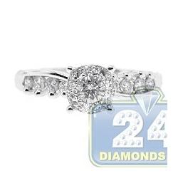14K White Gold 0.78 ct Diamond Illusion Womens Vintage Engagement Ring