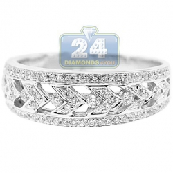 14K White Gold 0.40 ct Diamond Antique Patterned Womens Ring