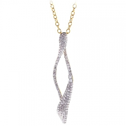 14K Yellow Gold 0.91 ct Diamond Womens Curve Drop Pendant