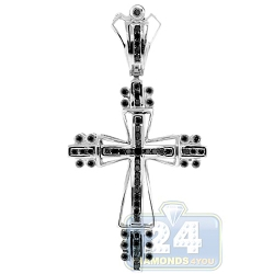 14K White Gold 0.73 ct Black Diamond Mens Cross Pendant