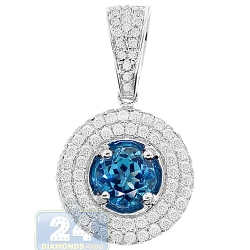 Womens Blue Topaz Diamond Halo Drop Pendant 14K White Gold 2.0ct