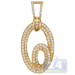 14K Yellow Gold 1.70 ct Diamond Double Oval Womens Pendant