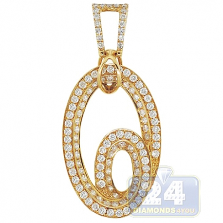 Womens Diamond Double Oval Drop Pendant 14K Yellow Gold 1.70ct