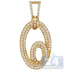 14K Yellow Gold 1.70 ct Diamond Double Oval Womens Pendant