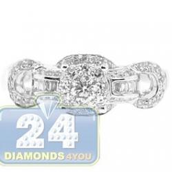 14K White Gold 0.90 ct Diamond Cluster Womens Vintage Engagement Ring