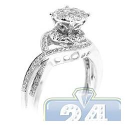 14K White Gold 0.71 ct Diamond Infinity Womens Engagement Ring