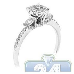 14K White Gold 0.68 ct Diamond Cluster Multistone Womens Engagement Ring