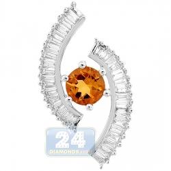Womens Baguette Diamond Citrine Pendant 14K White Gold 2.00ct