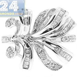 14K White Gold 0.50 ct Mixed Round Baguette Diamond Leaf Ring