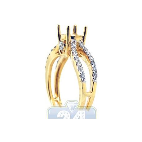 14K Yellow Gold 0.52 ct Diamond Openwork Engagement Ring Setting