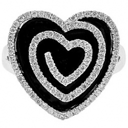 14K White Gold 0.73 ct Diamond Black Ceramic Heart Cocktail Ring