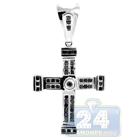 Mens Channel Set Black Diamond Cross Pendant 14K White Gold