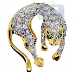 14K Yellow Gold 0.80 ct Diamond Womens Small Panther Pendant