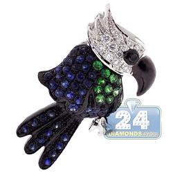 Womens Diamond Sapphire Parrot Bird Pendant 14K White Gold .70ct