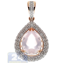 Womens Quartz Diamond Teardrop Pendant 14K Rose Gold 3.16ct