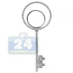 14K White Gold 0.32 ct Diamond Open Key Womens Pendant