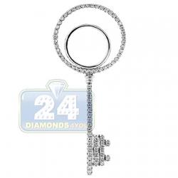 14K White Gold 0.32 ct Diamond Open Key Womens Pendant