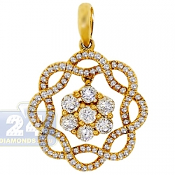 14K Yellow Gold 0.89 ct Diamond Womens Flower Pendant