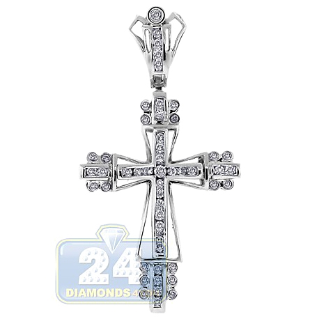 Mens Diamond Puff Cross Pendant 14K White Gold 0.68ct 2""