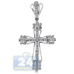 14K White Gold 0.68 ct Diamond Mens Puff Cross Pendant