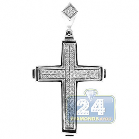 Mens Diamond Pave Latin Cross Pendant 14K Yellow Gold 0.68ct