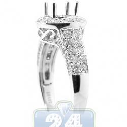 14K White Gold 0.89 ct Diamond Halo Engagement Ring Setting
