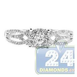 14K White Gold 0.54 ct Diamond Illusion Womens Openwork Engagement Ring