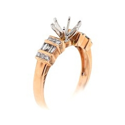 14K Rose Gold 0.40 ct Diamond Semi Mount Engagement Ring