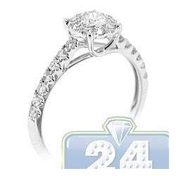 14K White Gold 0.72 ct Diamond Cluster Womens Vintage Engagement Ring