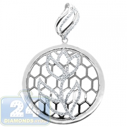 14K White Gold 0.34 ct Diamond Openwork Flower Round Pendant