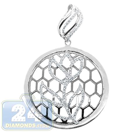 Womens Diamond Openwork Flower Round Pendant 14K White Gold