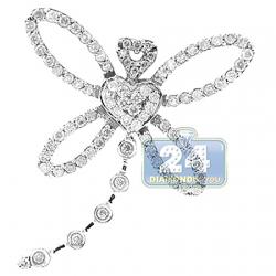 14K White Gold 0.70 ct Diamond Dragonfly Womens Pendant