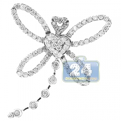 14K White Gold 0.70 ct Diamond Dragonfly Womens Pendant