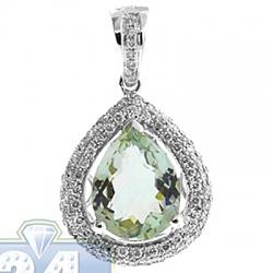 Womens Green Amethyst Diamond Teardrop Pendant 14K White Gold