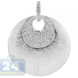 14K White Gold 0.34 ct Diamond Womens Circle Pendant