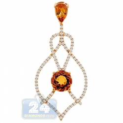 14K Yellow Gold 3.50 ct Citrine Diamond Chandelier Pendant